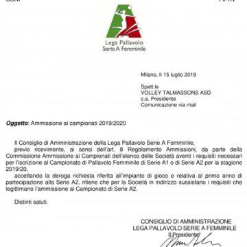 Ufficiale la CDA ammessa in Lega Volley Femminile